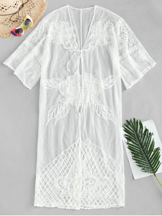 Tie Front Sheer Cover Up - Blanco Talla única