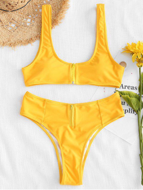 ZAFUL Ensemble Bikini Taille Haute Zipper - Jaune Clair M
