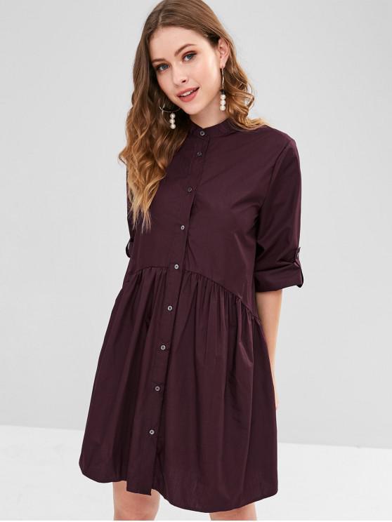 لفة التبويب كم ثوب قميص سموك - المخملية المارون L