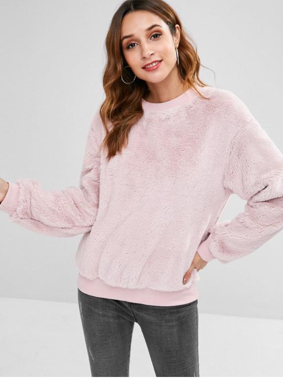 outfit ZAFUL Plush Faux Fur Sweatshirt - LIGHT PINK M