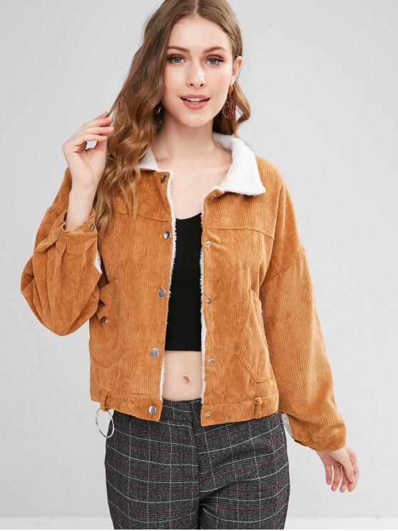 online Fleece Lined Pocket Corduroy Jacket - CARAMEL ONE SIZE