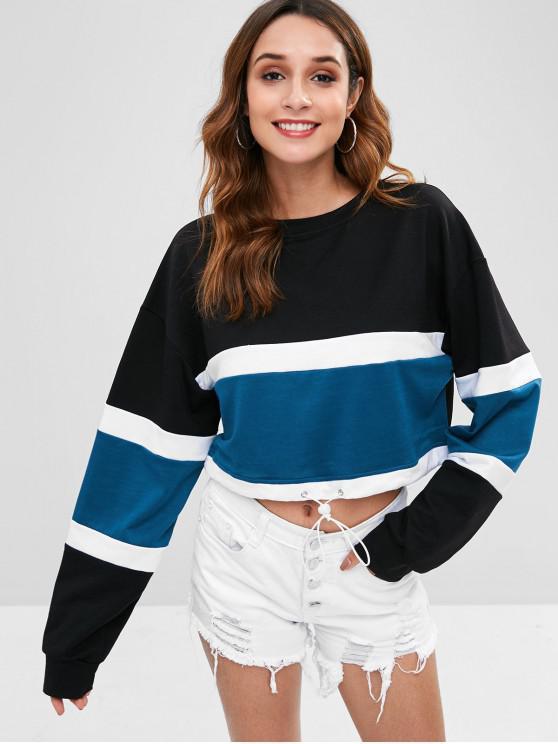 Camisola de ombro de gota de bloco de cor de colheita - Multi S
