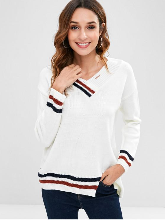 latest Double Striped V Neck Sweater - WHITE ONE SIZE