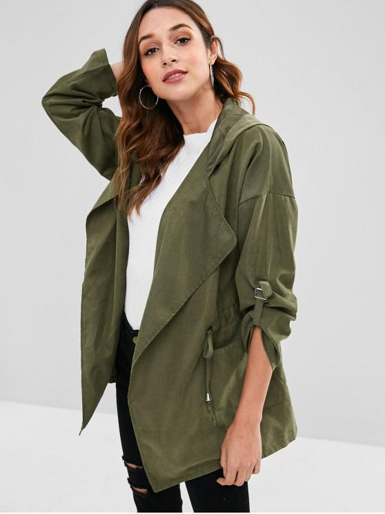 online Hooded Drawstring Tunic Coat - ARMY GREEN L