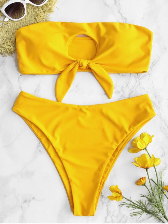 sale ZAFUL Knot Cutout Bandeau Bikini Set - BRIGHT YELLOW L
