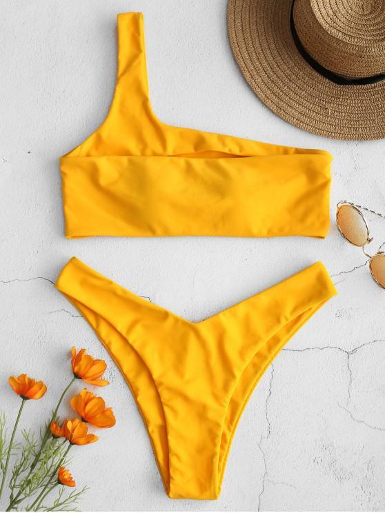 dae1a331149e4f 20% OFF  2019 ZAFUL One Shoulder Cut Out Thong Bikini In MUSTARD