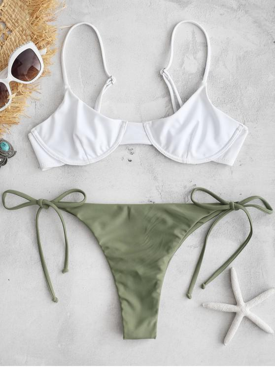 women's ZAFUL Color Block String Bikini Set - ARMY GREEN S