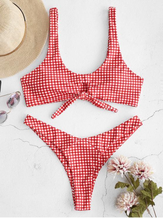 womens ZAFUL Knotted Thong Bikini Set - RED M
