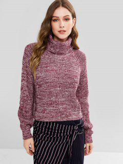 Turtleneck Heathered Pullover Sweater - Purplish Red