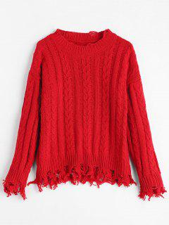 Ripped Fringed Cable Knit Sweater - Red