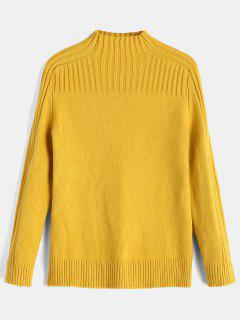 Ribbed Yoke Funnel Collar Sweater - Yellow