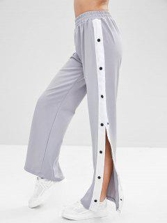 Snap Button Wide Leg Pants - Light Gray M