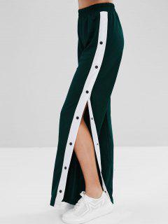 Snap Button Wide Leg Pants - Dark Forest Green Xl