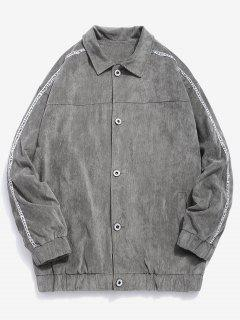 Side Striped Button Corduroy Jacket - Gray M
