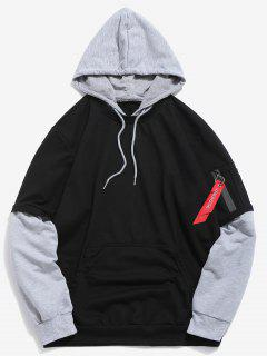 Pockets Contrast False Two Piece Hoodie - Black M