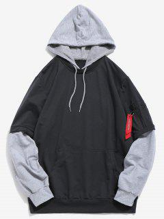 Pockets Contrast False Two Piece Hoodie - Dark Gray Xs