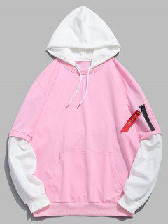 Pockets Contrast False Two Piece Hoodie - Light Pink L
