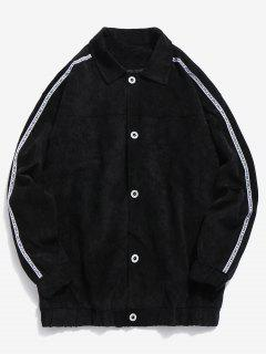Side Striped Button Corduroy Jacket - Black Xl