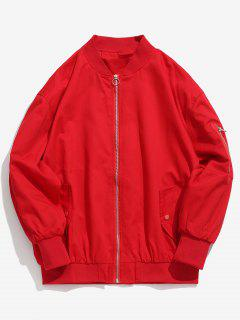 Solid Pockets Design Bomber Jacket - Red L