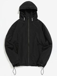 Zipper Windbreak Hooded Jacket - Black S