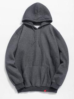 Solid Pocket Soft Fleece Hoodie - Dark Gray 2xl