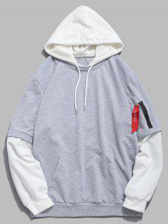 Pockets Contrast False Two Piece Hoodie - Light Gray M