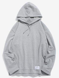 Casual Split Hem Solid Hoodie - Gray Xl