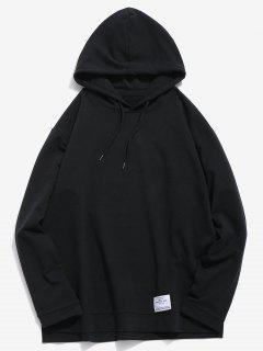 Casual Split Hem Solid Hoodie - Black S