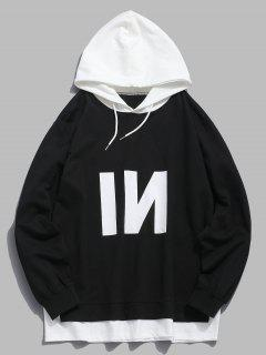 Contrast Patch Edge Letter Hoodie - Black Xs