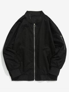 Solid Pockets Design Bomber Jacket - Black M