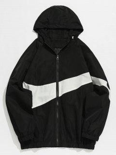 Contrast Casual Zipper Lightweight Jacket - Black Xs