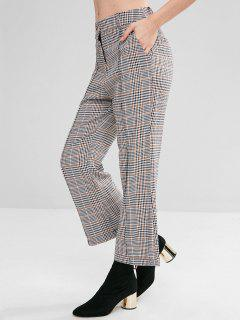 Wide Leg Gingham Pants - Black L