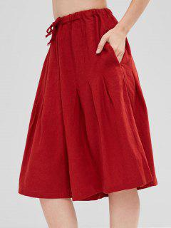 Drawstring Pocket Gaucho Pants - Firebrick