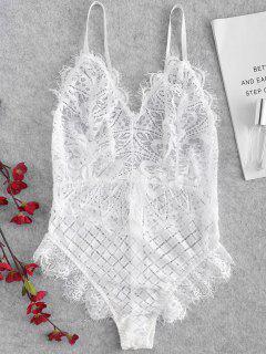 Cross Sheer Eyelash Lace Lingerie Teddy Bodysuit - White M