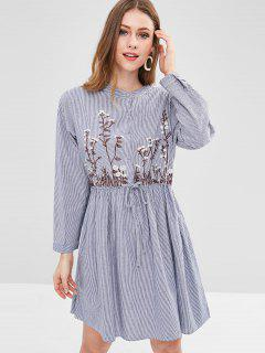 Striped Flower Embroidered Dress - Blue Gray