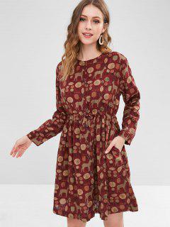 Leaf Deer Button Up Dress - Red Wine