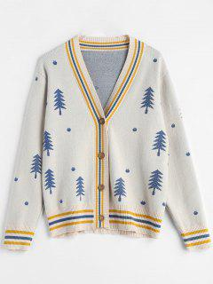 Tree Jacquard Christmas Cardigan - Warm White
