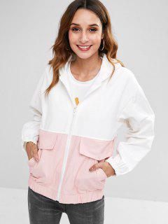 Back Cat Pattern Front Pockets Zip Jacket - White L