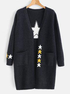 Cárdigan Largo Con Bolsillo De Estrella - Gris Pizarra Oscuro