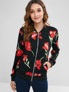 Floral Print Front Pockets Zip Jacket - Black L