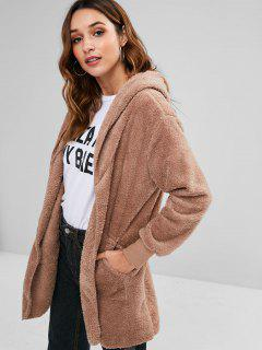 Hooded Front Pockets Fluffy Jacket - Khaki M
