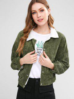 Fleece Lined Pocket Corduroy Jacket - Camouflage Green