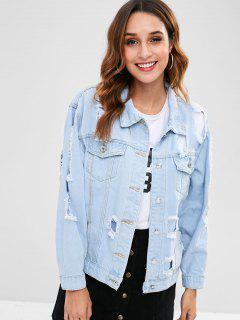 Cut Out Ripped Jeans Jacket - Jeans Blue L