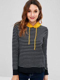 Striped Hooded High Low Sweater - Black