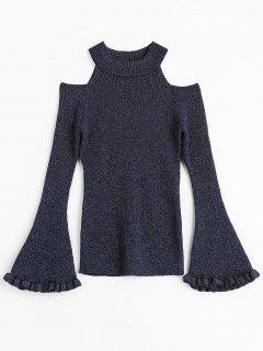 Glitter Bell Sleeve Cold Shoulder Sweater - Deep Blue