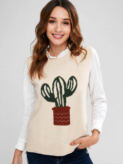 Cactus High Low Sweater Vest - Apricot