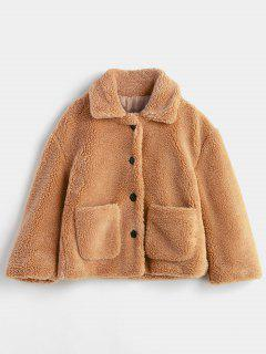 Fluffy Patch Pockets Faux Fur Winer Coat - Brown M