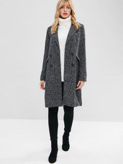 Double Breasted Lapel Tweed Coat - Black L