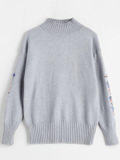 Trichter Kragen Floral Bestickt Pullover - Grau
