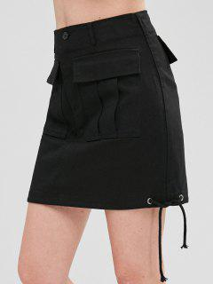 Drawstring Flap Pockets Mini Denim Skirt - Black M